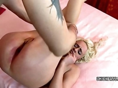 Blonde hottie Cindy Sun gets butt fucked hard with a stiff cock