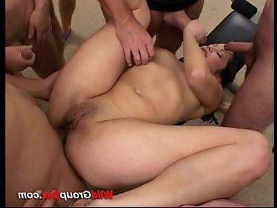 Nasty milf takes oral orgy sex