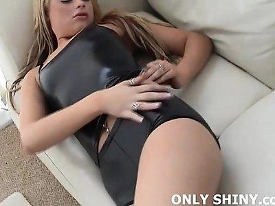 Watch me teasing in tight black PVC panties