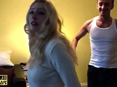 British blonde slut Jessica dominated with roughsex