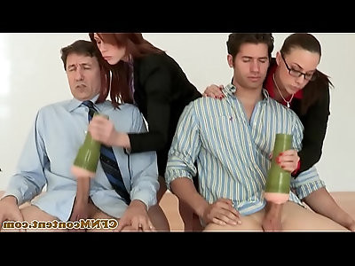 Office femdom milfs use toys to tug and suck