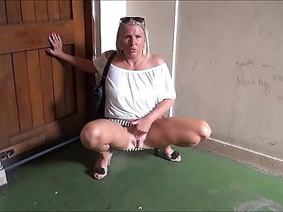 Mature flashing mum outdoors with sexy milf Jerry showing tits and