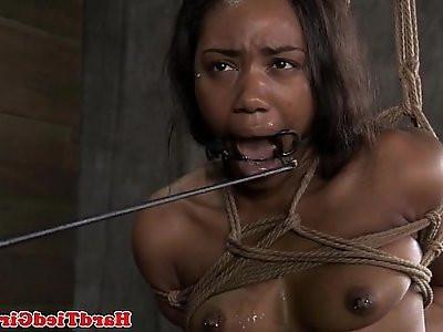 Tied up ebony bdsm sub punished harshly