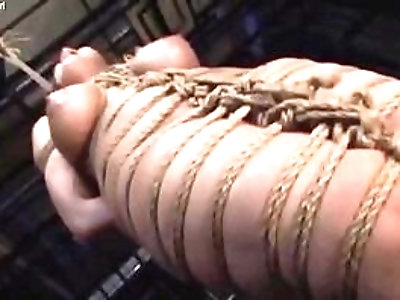 Filthy whore in shibari gets brutally spanked