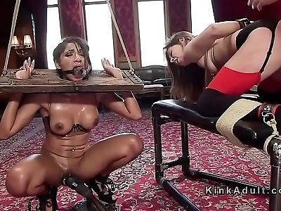 Slaves getting ass to mouth in threesome bondage