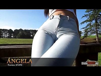 Spanish brunette teen in skinny jeans cameltoe
