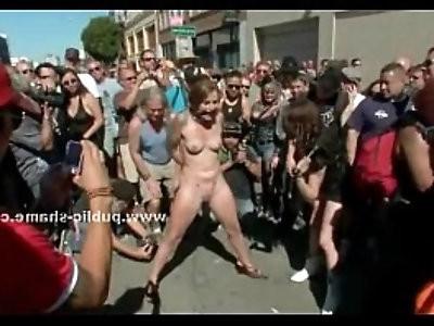 Group of sluts undressed in public sex