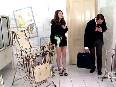 Secretary Mish Cross gets an anal creampie BDSM style