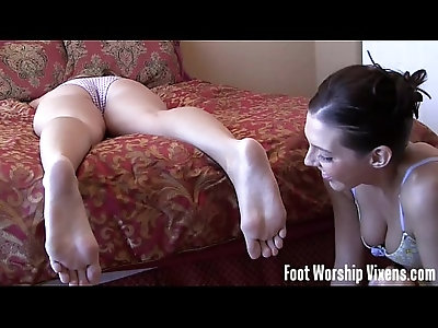Sneaky foot worship action