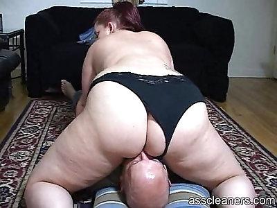 Chubby mistress sits her big fat ass on a face