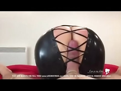 Black latex mistress tease cock