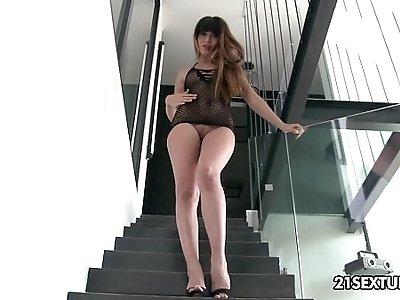 Mona Kims asshole enjoys some phallic anal attention.