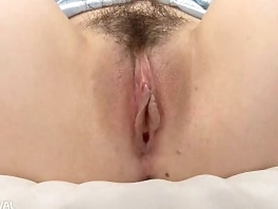 Sakamoto Hikari fingers her trimmed pussy before adding a toy