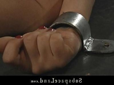 Brunette Kerry bound and fucked in kinky fantasy bondage