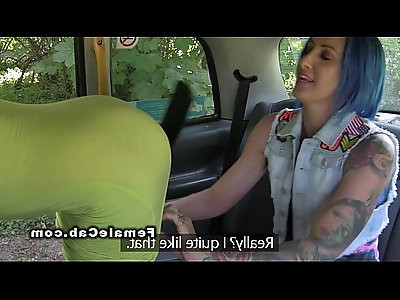 Lesbians spanking in female fake taxi