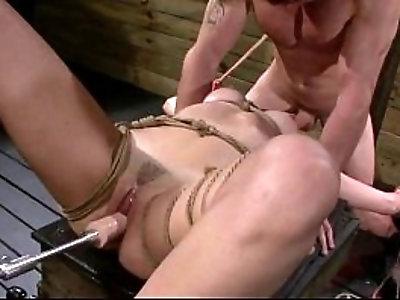 Bdsm babe Marley Blaze gangbanged by fucking machine and cock of master