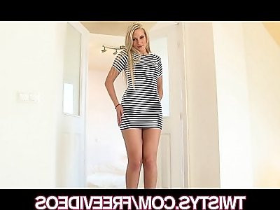 Playful blonde with SEXY body strips and fingers herself
