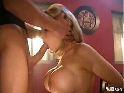 Blonde amateur babe with most beautiful and biggest tits gives mouth fucking