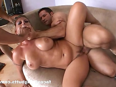 Hardcore blonde masturbates with massive tits and a giant ass