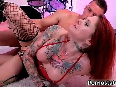 Redhead tattoo chick gets throat fucked