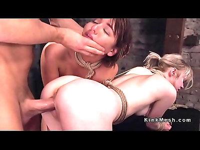 Master fucks two bound roommates