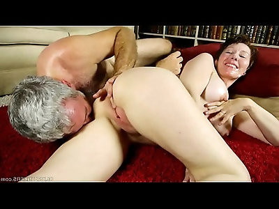 Dirty old spunker enjoys hard anal fucking and a sticky facial cumshot